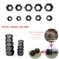 10 Pcs Damaged Rusted Nut Bolt Remover Stud Extractor Set (#1-#10) Metric Black