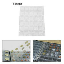 5 Pages 30 Pockets Classic Coin Holder Sheets For Storage Collection Albu PXG