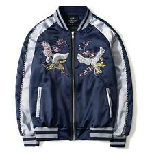 HOT Men and women jacket Satin Embroidery Crane Bird Souvenir Bomber Jacket