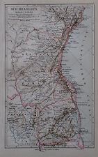 1892 SÜD-BRASILIEN alte Landkarte Antique Map Lithografie Brasilien Brazil