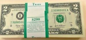2003 $2.00 MINNEAPOLIS (I) BEP ISSUED PACK OF 100 CONSECUTIVE FRN NOTES