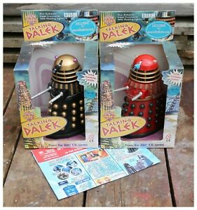 Vintage 2x Doctor Who's Talking Red and Black DALEKS, original boxes.