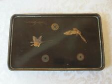 VINTAGE ANTIQUE JAPANESE BLK LACQUER WARE SERVING TRAY BUTTERFLIES 8 3/4