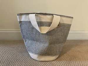 """Ribbed Round Bin Small 11x11"""" Black & Tan...Can Be A Beach Tote Too!  by TAG Ltd"""