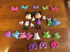 Fisher Price Disney Minnie Mouse Birthday Bowtique Snap On Fashion Dress Up Lot