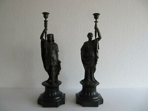 Paar große Bronze-Leuchter/Kerzenleuchter Klassizismus Egyptian-Revival 19.Jhdt.