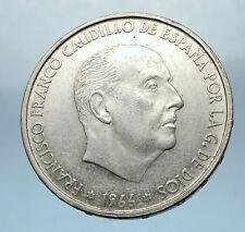 1966 Francisco Franco Cadillo of Spain 100 Pesetas Silver Spanish Coin i68241