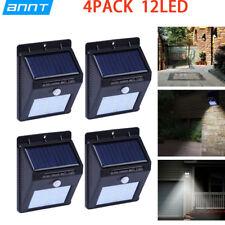 4x12 LED Solar PIR Motion Sensor Wall Night Light Outdoor Garden Lamp Waterproof