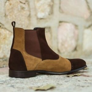 Mens Handmade Chelsea Boots Multi in Dark Brown and Camel Lux Suede, designers