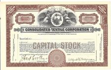 CONSOLIDATED TEXTILE CORPORATION......INISSUED COMMON STOCK CERTIFICATE