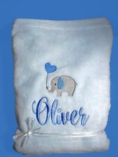 Personalised Baby Blanket Cot Pram Elephant Any Name 75cmx 90cm Gift Embroidery