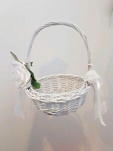 WHITE Wicker Wedding Flower Basket