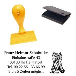 Yorkshire Terrier Stempel mit Stempelkissen Adressenstempel Holzstempel 50x30mm