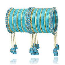 Indian Bollywood Wedding Matching Aqua Partywear Latkan Bangle Bracelet Churi