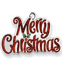 Mini Merry Christmas Harvey Lewis Silver Ornament w/ Crystals From Swarovski