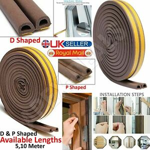 New Draught Draft Excluder Self Adhesive Rubber Door Window Seal Strip Roll Tape