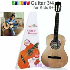 RAINBOW COLOUR STRINGS 3/4 CLASSICAL GUITAR PACK BEGINNERS KIDS STUDENTS ADULTS