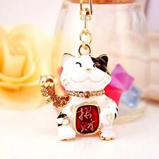 Feng Shui maneki neko Lucky Cat key chain ring for wealth luck