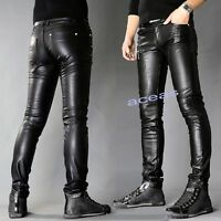 Fashion Motorcycle Mens Faux Leather Slim Fit Pants Casual Trousers Punk Pants