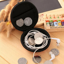 Black Earphone Pocket Earbud Headphone Storage Bag SD TF Card Box Holder Pouch