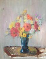:: Dipinto a Olio ° Natura Morta con Fiori Disposizione in Vaso ° Antico