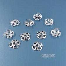 10 Vintage Solid Sterling Silver 7mm Four-Petal Floral Bead Caps #33804