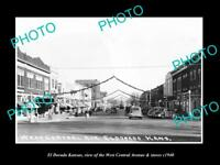 OLD LARGE HISTORIC PHOTO OF EL DORADO KANSAS, VIEW OF CENTRAL Ave & STORES c1940