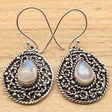 Old Style ETHNIC Earrings, RAINBOW MOONSTONE Silver Plated VINTAGE STYLE Jewelry