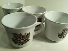 VINTAGE SET OF 4 CORELLE BATIK BROWN COFFEE CUPS/MUGS