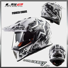 CASCO INTEGRALE TOURING ENDURO MOTOARD LS2 MX436 PIONEER CHAOS WHITE BLACK TG.XL