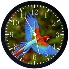 Colorful Parrots Black Frame Wall Clock Nice For Decor or Gifts W273