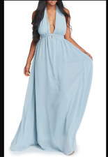ce7005bb7272 Show Me Your Mumu Luna Halter Maxi Dress Steel Blue Chiffon Extra Large XL