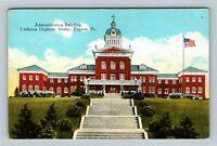 Topton PA, Lutheran Orphan's Home, Porch, Gardens, Linen Pennsylvania Postcard