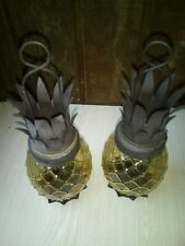 Vintage Glass Pineapple Candle Holder Hanging Yellow