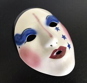 Fancy Faces Kings & Clowns Mardi Gras Porcelain Mask New Orleans Stars Signed