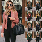 Womens Casual Long Sleeve Solid Leather Suit Jacket Zipper Slim Windproof Coat