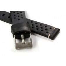 20mm ColaReb Racing Mens Black GT Rally Leather Made in Italy Watch Band Strap