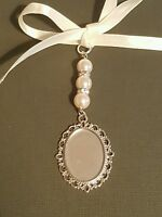 Wedding Bouquet Charm Oval Silver Locket Pendant three ivory pearls and Gift Bag