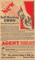 Akron Ohio Lamp & Mfg Co~Iron Street~Diamond Iron Agents~Kerosene~1940s Adv PC