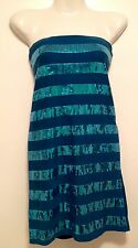 Women's ValleyGirl Turquoise Sequin Striped Bodycon Mini Dress Size Small 8-10