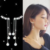 Silver Women Korean Crystal Pearl Tassel Long Earrings Ear Drop Dangle Jewelry