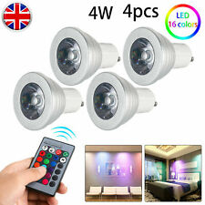 4X GU10 4W 16 Color Changing RGB Dimmable LED Light Bulbs Lamp RC Remote Spot OS
