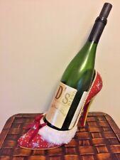 High Heel Wine Bottle Holder Ceramic Shoe Bar Decor Display Stand CHRISTMAS RED