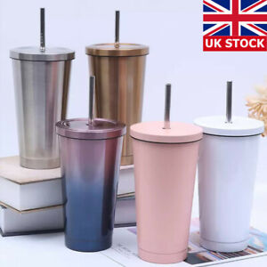Stainless Steel Coffee Tumbler Cup Tumbler with Lid and Straw Drinking Mug 500ML