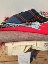 VINTAGE BUNDLE / LOT OF WOOL TWEEDS & PLAINS - GREAT FOR QUILTS AND CRAFTS