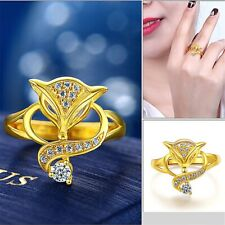18K Gold Plated Fox Ring Zircon Gold Ring Women's Luxury Exaggerated Fashion