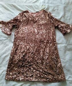 NWT dress peacocks size 18 uk Vtg style Downton Rose pink gold sequined RRP£35