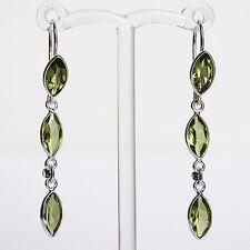 925 Silver Semi-Precious Natural Peridot Drop Earrings