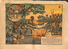 Chasse et rôti de crocodile au feu de bois village d'Afrique  ILLUSTRATION 1930