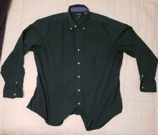 CHAPS 2XL GREEN PLAID COLLAR LONG SLEEVE SHIRT.